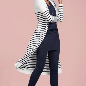 Cabi navy/white striped long sweater